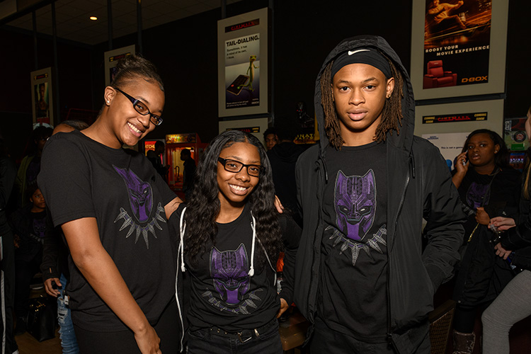 Ypsilanti Community High School Students before a screening of Black Panther at Rave Cinemas