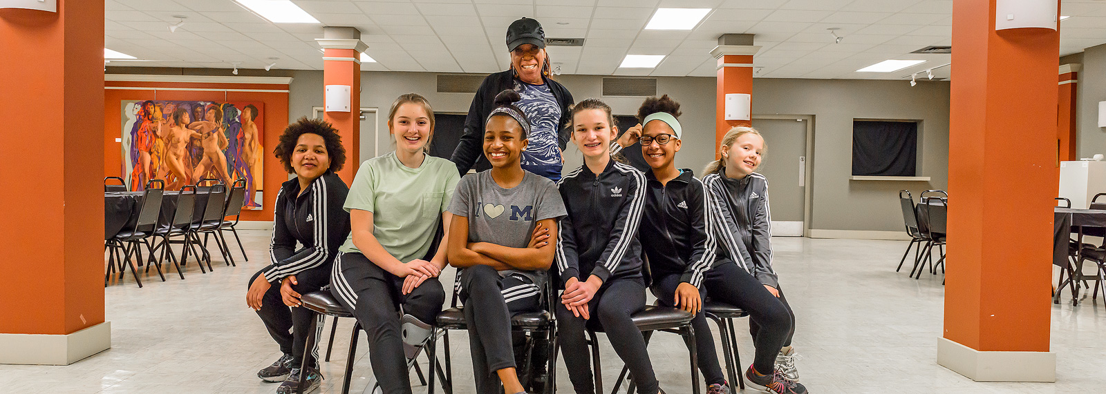 Gina Danene Thompson with one of her dance classes at the Riverside Arts Center <span class='image-credits'>Doug Coombe</span>