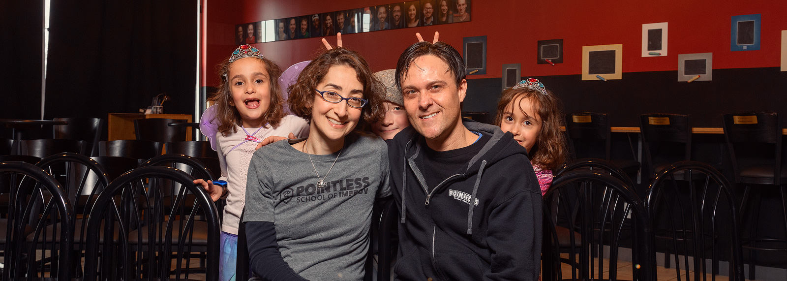 Tori and Jason Tomalia with their kids at Pointless Brewery & Theatre <span class=&apos;image-credits&apos;>Doug Coombe</span>