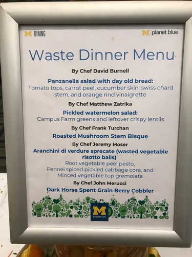 The menu at the waste dinner.