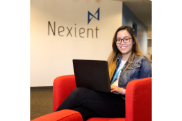 Jean Huan, a new hire at Nexient's Pittsfield Township location.