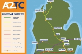 Map of proposed Ann Arbor-to-Traverse City rail line.