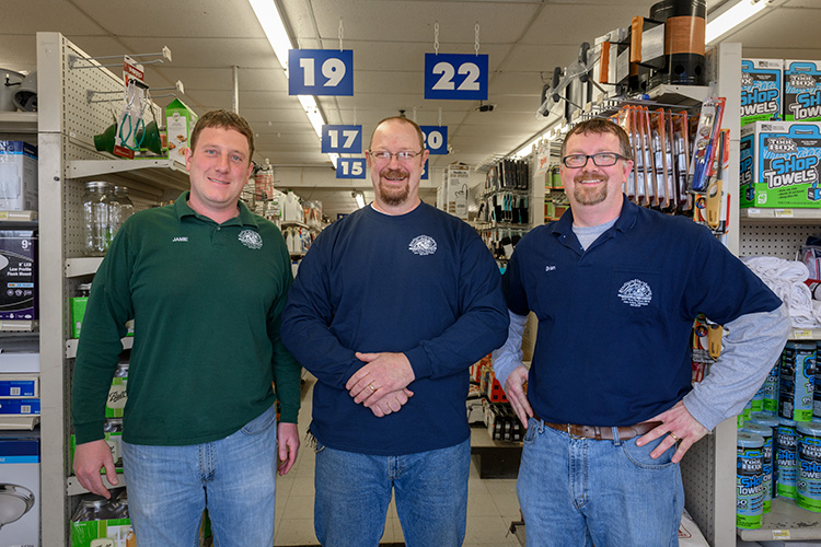 Jamie Brustad, Skip Hackbarth and Brian Bennink at Stadium Hardware