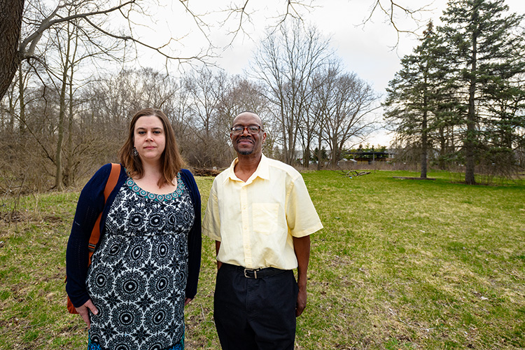Erin Snyder and Michael Simmons at the former location of a home on Kramer Street
