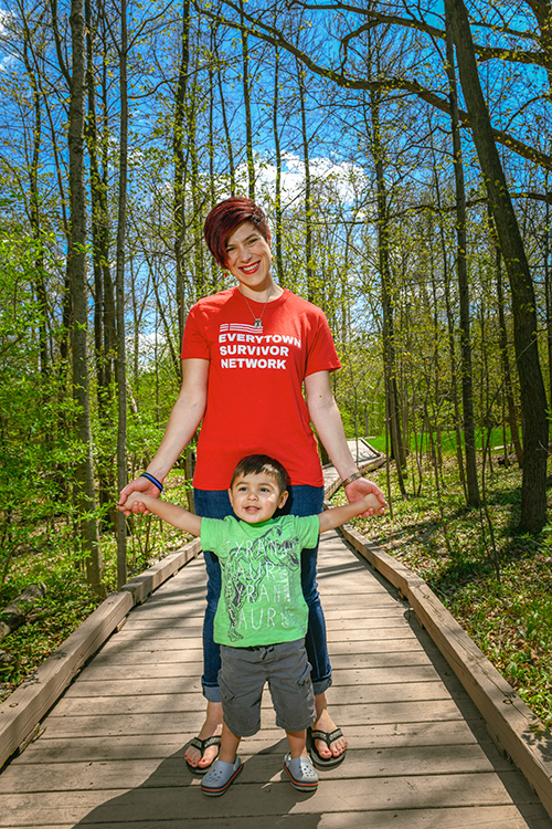 Celeste Kanpurwala of Moms Demand Action for Gun Sense in America with her son Noah