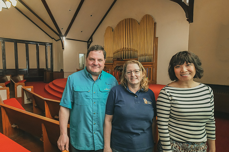 Steve Pierce, Maggie Brandt and Yen Azzaro at  First Congregational United Church of Christ
