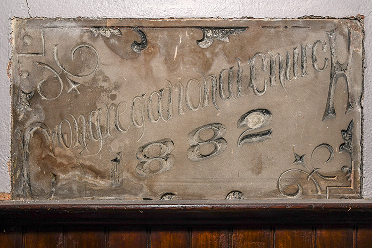 The cornerstone of the original 1882 portion of  First Congregational United Church of Christ