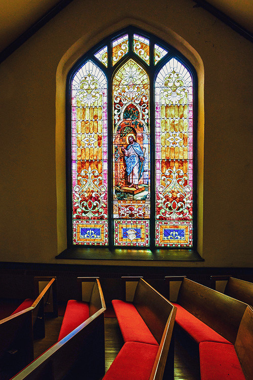 Stained glass at  First Congregational United Church of Christ
