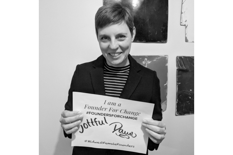 Jottful founder Dawn Verbrigghe with her Founders for Change pledge.