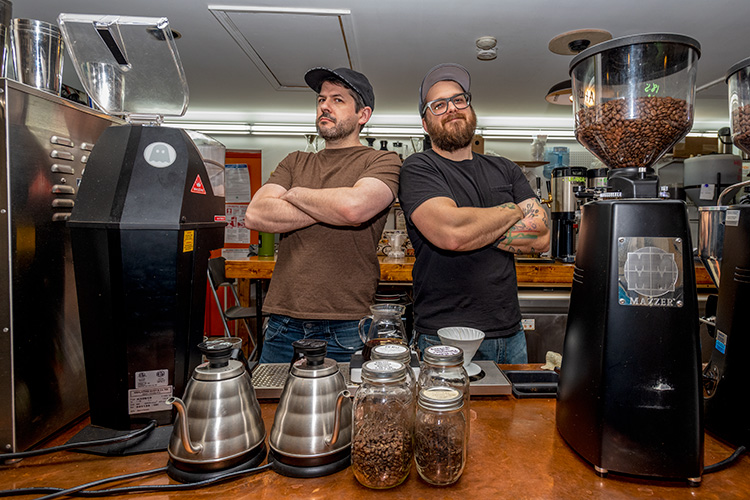 Todd Osborn and Eric Mullins at Hyperion Coffee Co