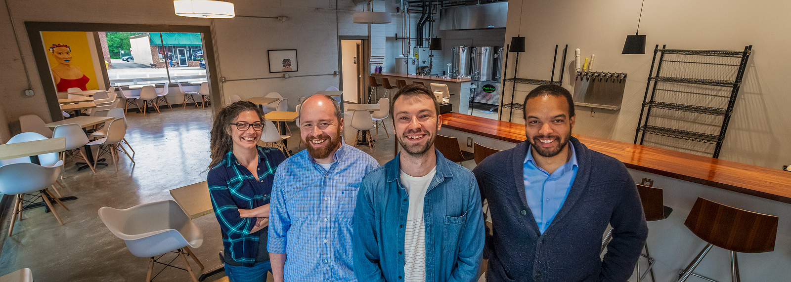 Mariah Gavin, Patrick Echlin, Alex Merz and Brian Jones-Chance inside of 734 Brewing Company <span class='image-credits'>Doug Coombe</span>