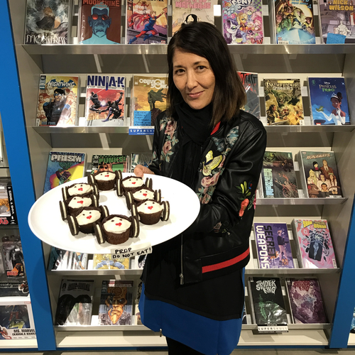 Kathleen Hiraga, creator and producer of PopArt!, displays Princess Leia cupcakes for the show's weekly segment, Superbake.