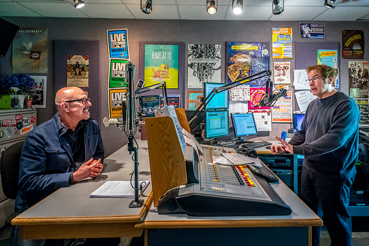 L to R Author Michael Zadoorian interviewed by author Martin Bandyke at ann arbor's 107one studios