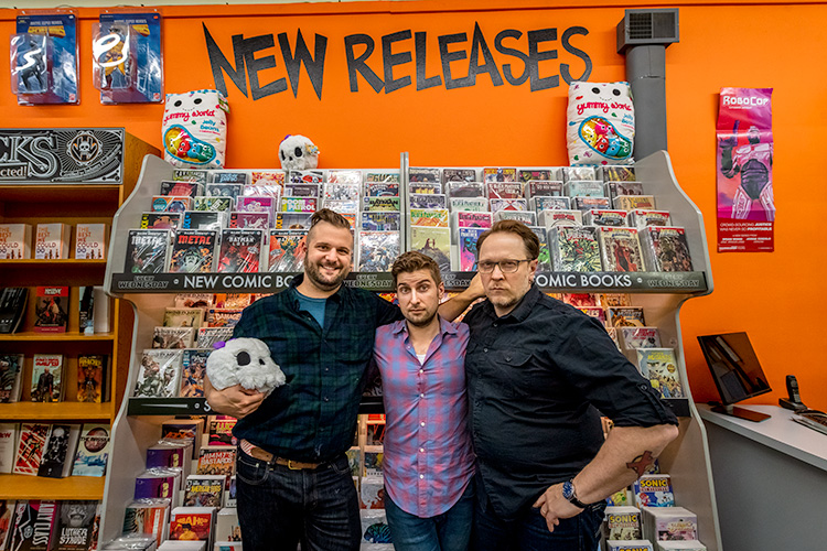 Marcus Schwimmer, Nick Yribar and Curtis Sullivan of the Super Skull podcast