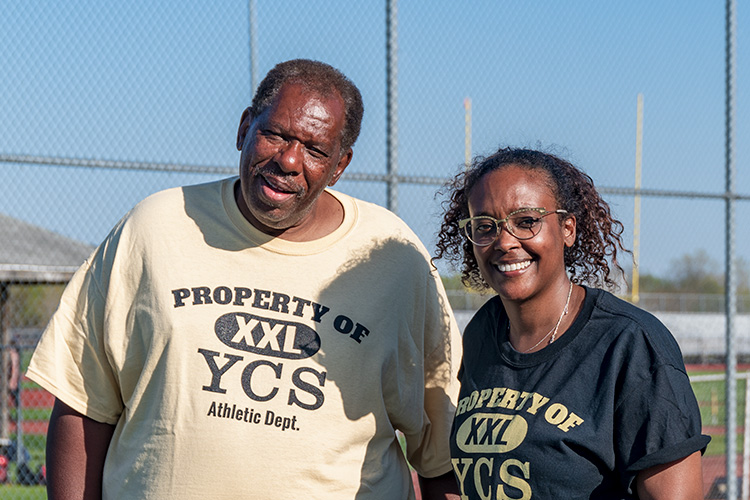 YCHS Girls Tennis Team Assistant Coach Maurice Thompson and Coach Taryn Reid
