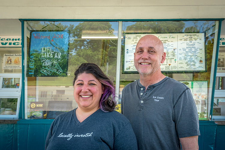 Angela Barbash and Jim Tefend at Ice Cream Time on Ecorse Road
