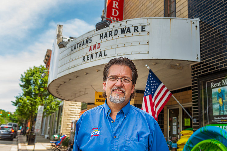 Jim Latham outside of Latham's Hardware in downtown Milan