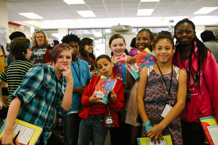 Student writers Viktor Buhnerkemper, Anthony Ponder, Cam'ron Odom, Hailey Jackson, Unique Barne, Lilo Gatzke, and Keymani Barfield at the book release event.