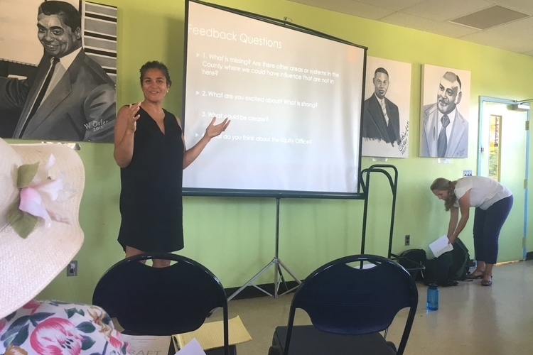 Felicia Brabec presents during a feedback session at Parkridge Community Center.