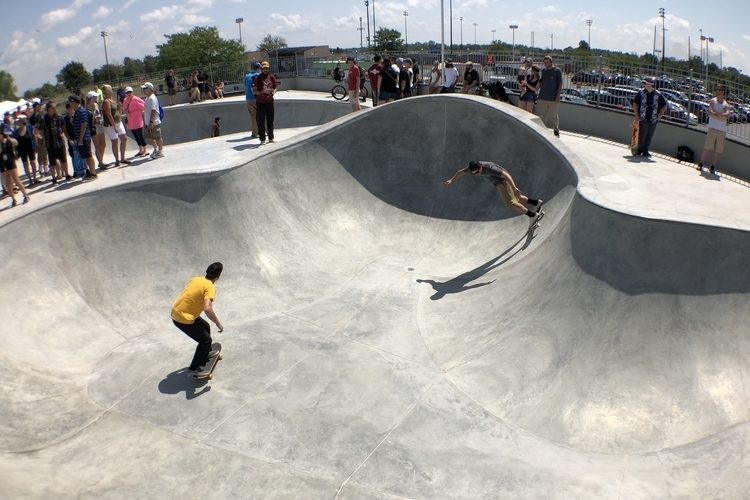 The opening of a recent Tony Hawk Foundation-funded skatepark in Amherst, N.Y.