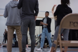 Runyonland choreographer Chris Campbell works with the cast in SHEL rehearsals.