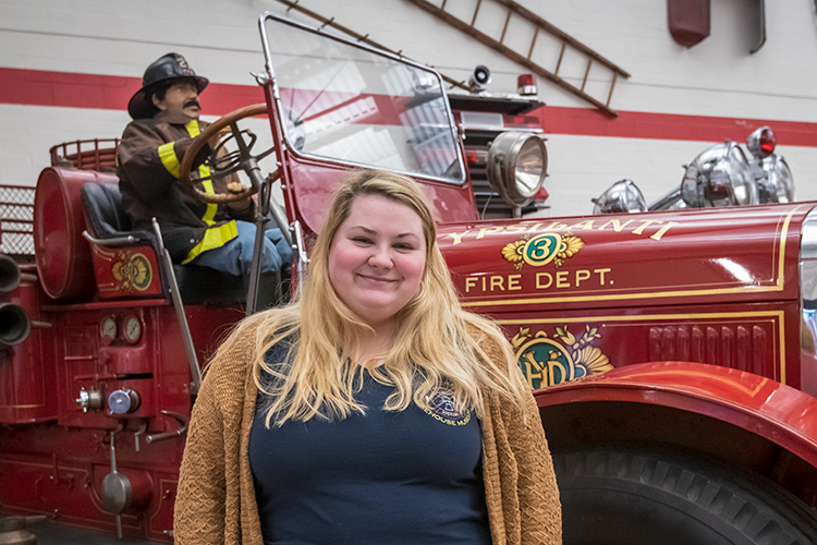 Michigan Firehouse Museum assistant Taylor Mull