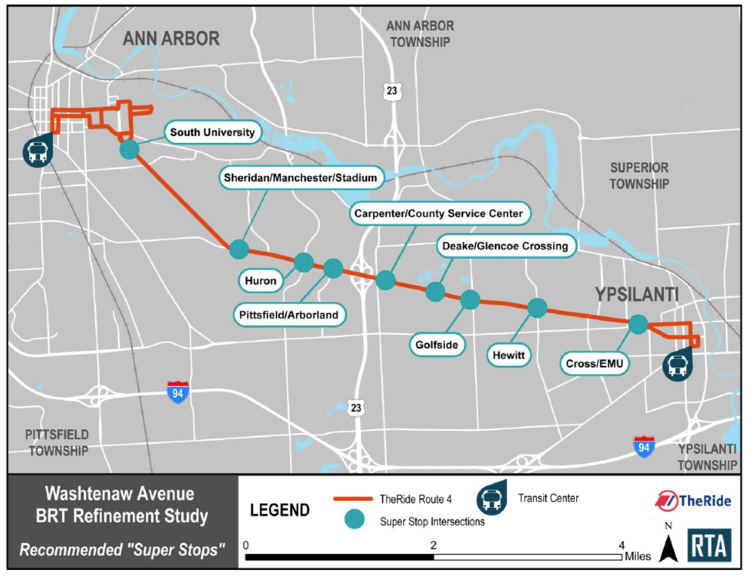 Map showing proposed limited stops for an express bus route between Ann Arbor and Ypsilanti.