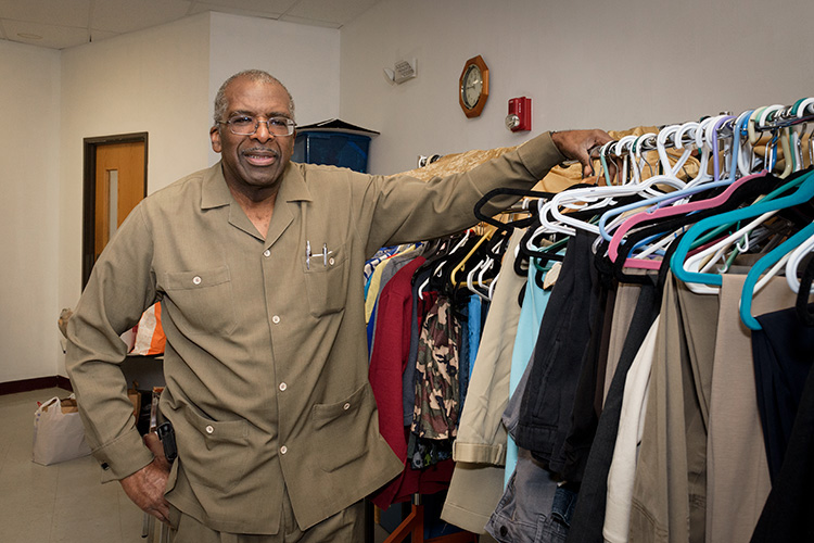 Pastor Jerry Hatter at the Brown Chapel AME clothes closet