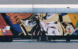 Photographs of an Artrain mural by Harry Chalfant.