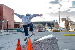 A skateboarder at the downtown Ann Arbor Library Lot