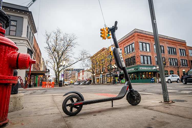 A Bird scooter in downtown Ann Arbor