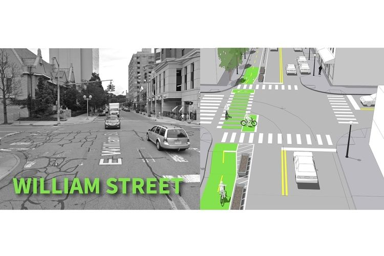 Concept art for the William Street protected bike lane.