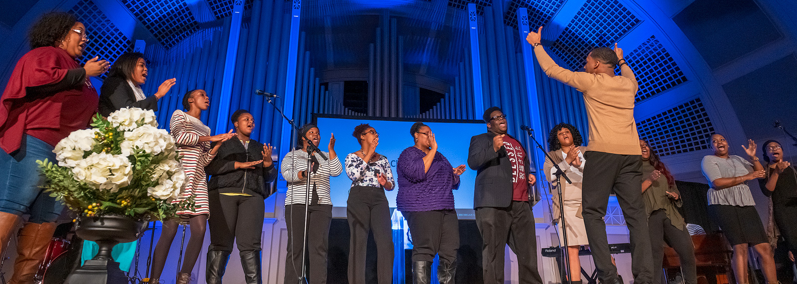 The Gospel Choir at EMU at the inaugural MLK Gospel Fest <span class='image-credits'>Doug Coombe</span>
