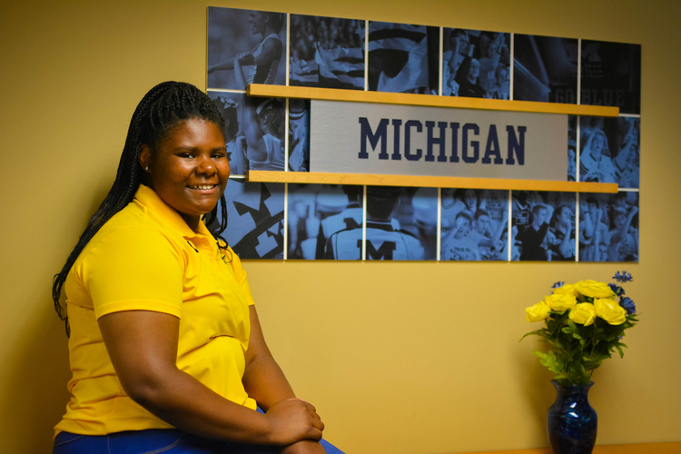 Summer18 participant Tyisha Thompson at the U-M Athletics Department.