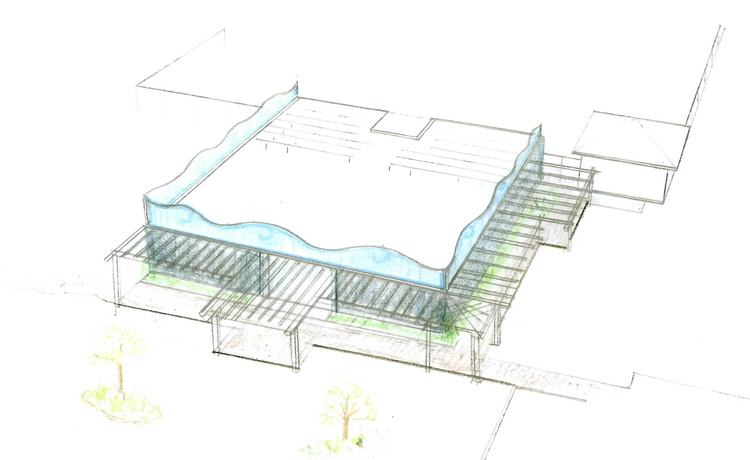 Architectural drawing of the bathhouse's proposed exterior.