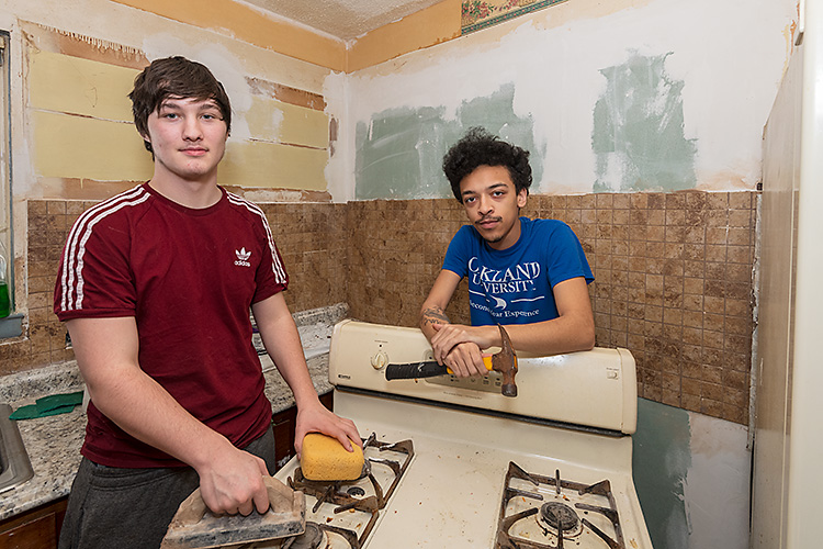 Coleman Snowdon and Jared Tyler remodeling Kenneth Snowdon's kitchen