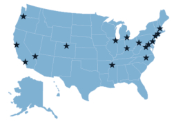 A map from the study showing cities with high concentrations of women-founded startups.