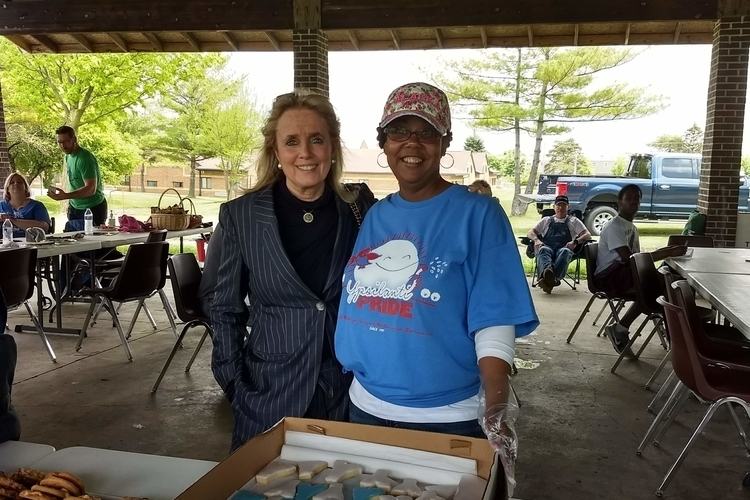 U.S. Rep. Debbie Dingell with A2Y Chamber business development and membership director Rosalind Vaughn at last year's Ypsi Proud cleanup day.