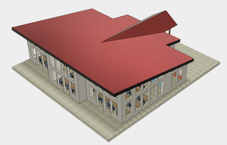 An artistic rendering of the folk school's multipurpose building.