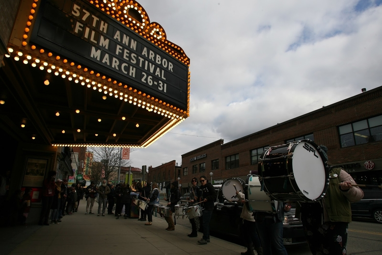 A crowd gathered outside the Michigan Theater on Awards Night for the Ann Arbor Film Festival, heralded by Bitch, Thunder, an all-female party drum line from Toledo, Ohio.