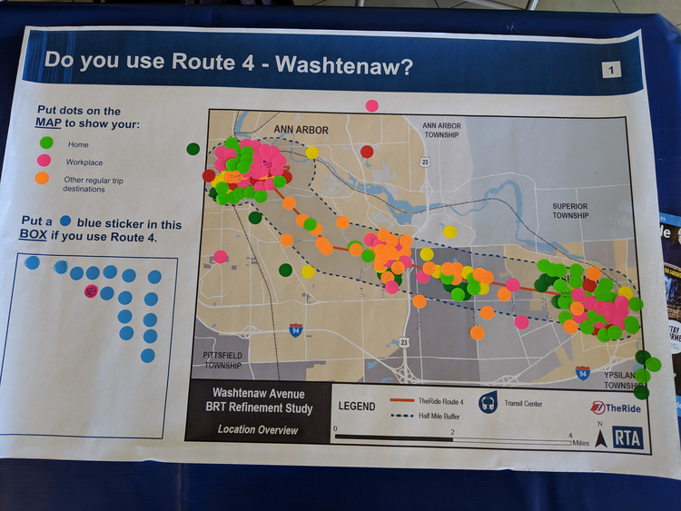 Feedback session participants placed colored stickers indicating where they live, work, and make frequent stops along the Washtenaw Avenue corridor.