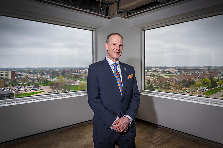 Oxford Companies CEO Jeff Hauptman in the future Oxford offices on the 8th floor of 777 E. Eisenhower.
