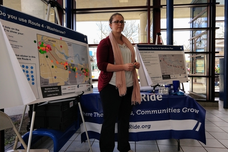 AAATA planning and innovation project lead Julia Roberts speaks at a public feedback session in Ypsilanti.