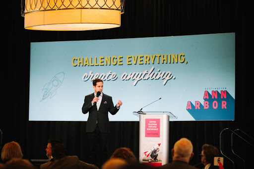 Jason Dorsey speaks at the Destination Ann Arbor annual meeting in February.