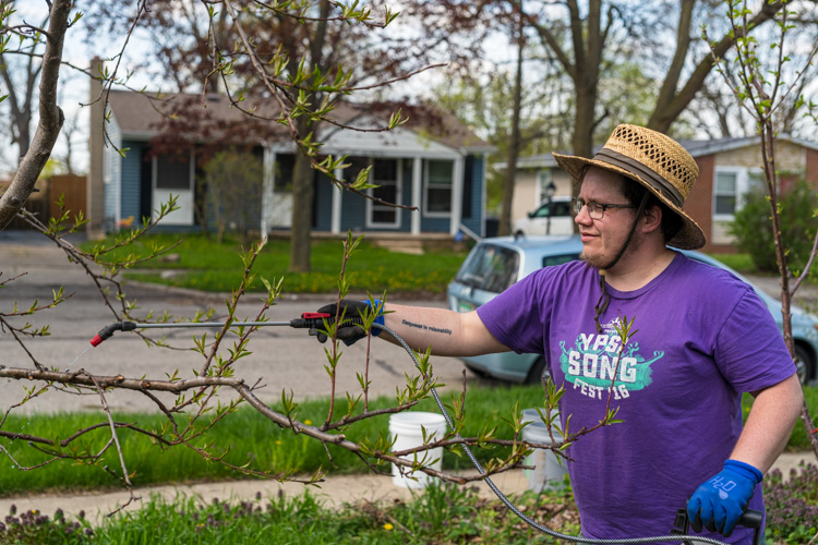Finn Bell at the Cooperative Orchard of Ypsilanti.