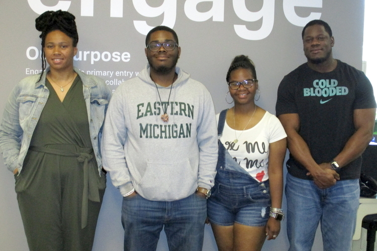 Eagle Engage Corps summer cohort members Jasmine  McAlister, Kory Woods, Jamere Dixon, and Marcus Gavin.