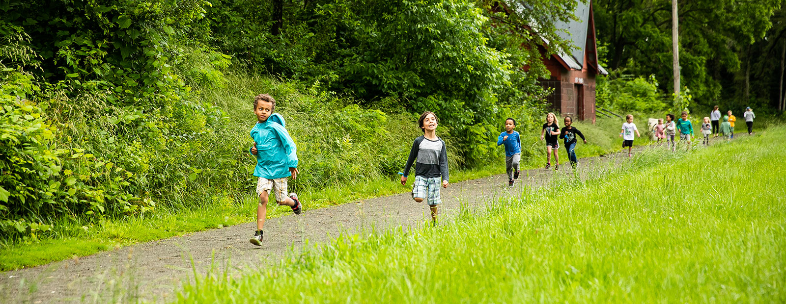Young participants run at the Frog Island Track Club.