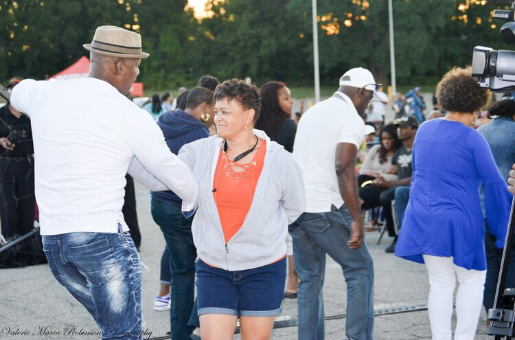 A couple dances at last year's Jazz in the Parking Lot event.