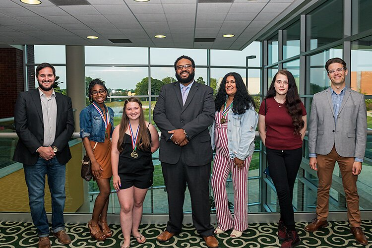 Upward Bound writing finalists and advisors David Boeving, Mareka Ray, Alexis Herron, Roderick Wallce, Selena Calzado, Cara Altherr, and Patrick Dunn. Davonna Washington not pictured.