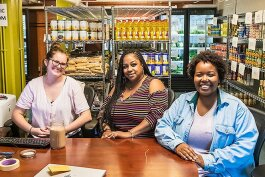 Julie Colbath, Jessica Thompson, and Felicia McCrary at Maize and Blue Cupboard at U of M.